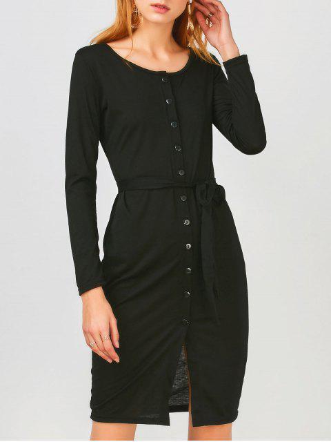 women Long Sleeve Button Up Slit Sheath Dress - BLACK M Mobile