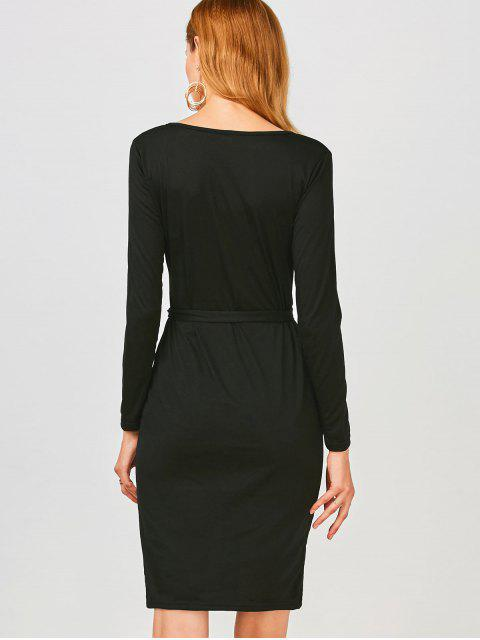 ladies Long Sleeve Button Up Slit Sheath Dress - BLACK XL Mobile