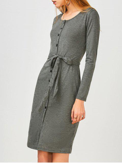 lady Long Sleeve Button Up Slit Sheath Dress - DEEP GRAY XL Mobile