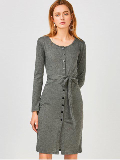 best Long Sleeve Button Up Slit Sheath Dress - DEEP GRAY L Mobile