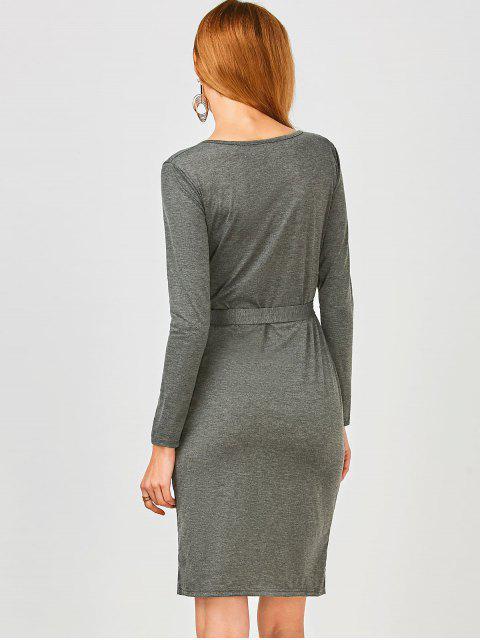 online Long Sleeve Button Up Slit Sheath Dress - DEEP GRAY M Mobile