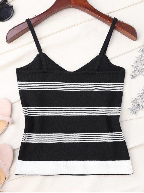 sale Striped Slip Knitted Tank Top - BLACK ONE SIZE Mobile