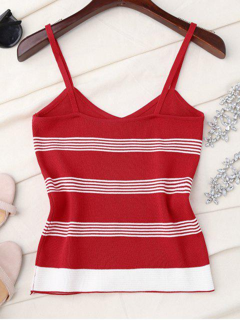 affordable Striped Slip Knitted Tank Top - RED ONE SIZE Mobile
