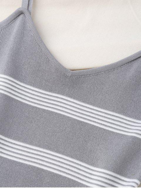 Débardeur souple en tricot à rayures - Gris TAILLE MOYENNE Mobile