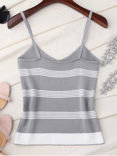 womens Striped Slip Knitted Tank Top - GRAY ONE SIZE Mobile
