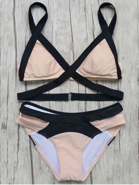 shops Patchwork Bandage Bikini Set - PINK S Mobile