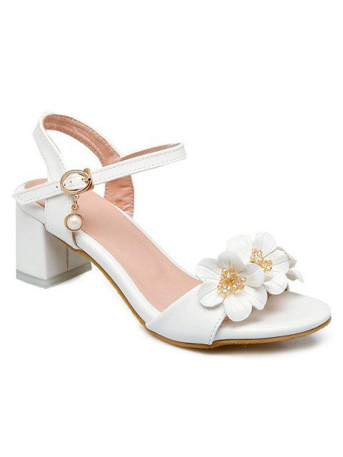 ladies Block Heels Flowers Sandals - WHITE 38 Mobile
