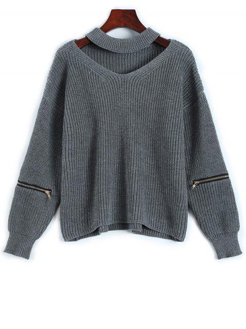 Weiter Pullover mit Halsband und Kerbe - Grau Eine Größe Mobile
