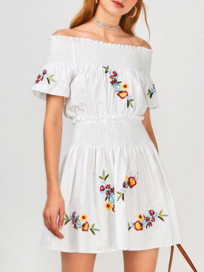 Floral Embroidered Smocked Off Shoulder Dress - White L
