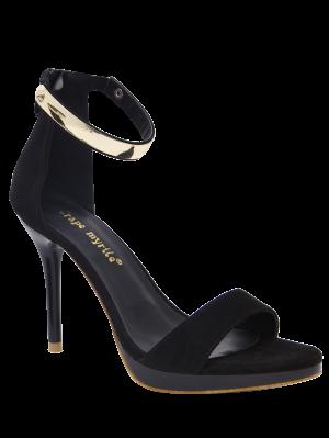 Sandales à Plateforme Zippées Avec Rivets Métalliques  - Noir 37