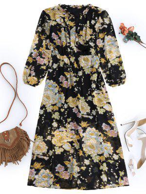 Vestido Con Flores Con Flecos - Negro S