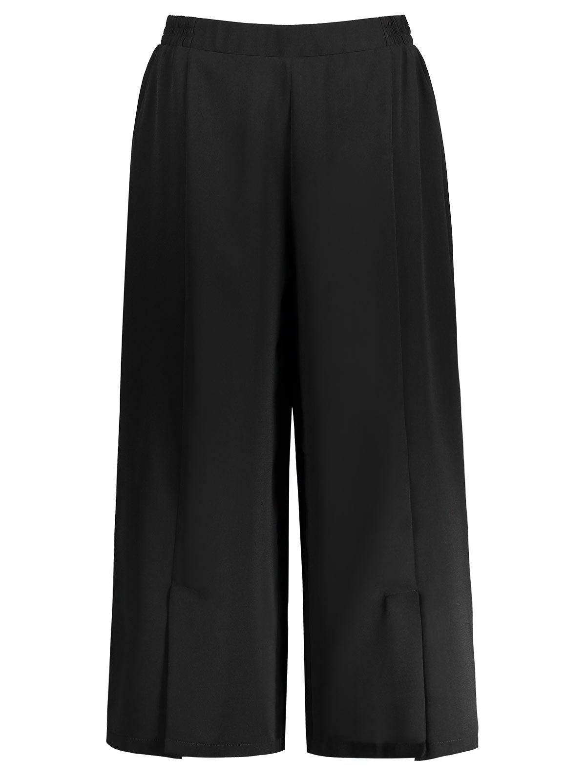 Chiffon Wide Leg Plus Size Crop Pants 211415901