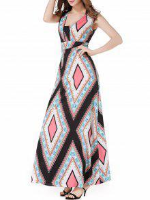 الخامس الرقبة أرجيل عارضة فستان ماكسي الصيف - Xl
