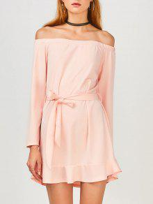 Off Shoulder Ruffle Hem Long Sleeve Dress - Light Pink S