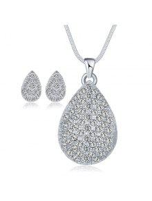 قطرة الماء رينستونيد مجموعة مجوهرات الزفاف - فضة