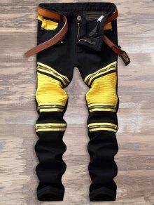 Bloqueador De Cor Zipper Biker Jeans - Amarelo E Preto 34