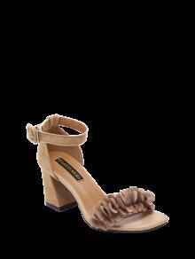 Buy Block Heel Ankle Strap Flowers Sandals - KHAKI 37