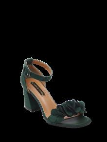 Buy Block Heel Ankle Strap Flowers Sandals - BLACKISH GREEN 38