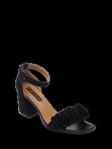 Buy Block Heel Ankle Strap Flowers Sandals - BLACK 38