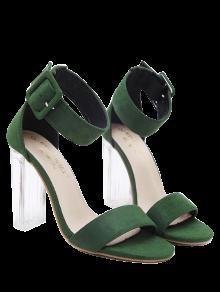 Flock Ankle Strap Crystal Heel Sandals - Green 37