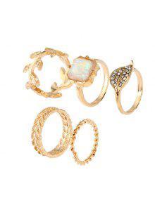 الاصطناعي جوهرة حجر الراين ليف خاتم مجموعة - ذهبي