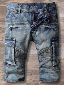 جينز متعدد الجيوب دانيم ضيق - ازرق 34