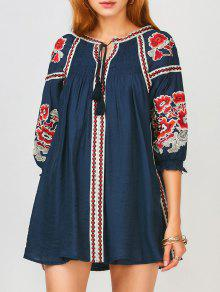Oversized Floral Embroidered Smock Dress - Purplish Blue S