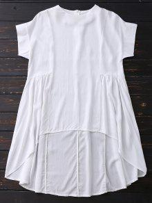 High Low Skirted Flowy Top - White M