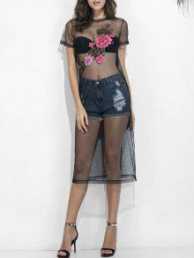 Floral S Bordado Malla Transparente Con Negro qx4BqOTn