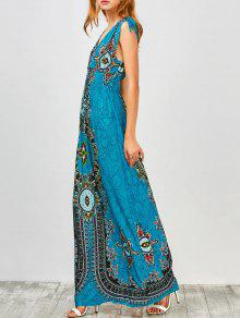 Maxi Print Plunge Bohemian Dress - Peacock Blue S