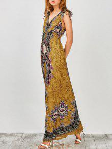 Maxi Print Plunge Bohemian Dress - Earthy S