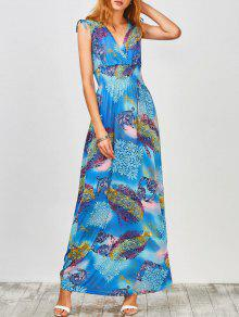 Plunge Sleeveless Printed Holiday Maxi Dress - Light Blue L
