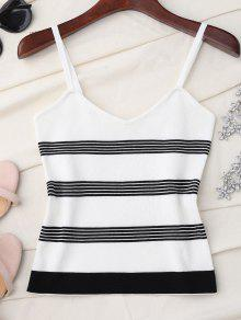 Striped Slip Knitted Tank Top - White