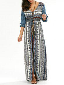 فستان طويل زر انقسام الرقبة V - أزرق M