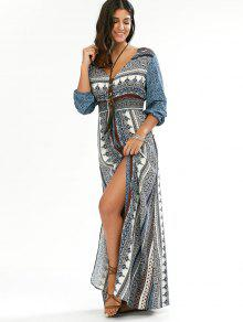 41b4706ce2 26% OFF] 2019 Empire Waist Button Down Flowy Beach Bohemian Maxi ...