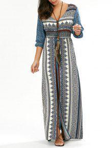 فستان طويل زر انقسام الرقبة V - أزرق Xl