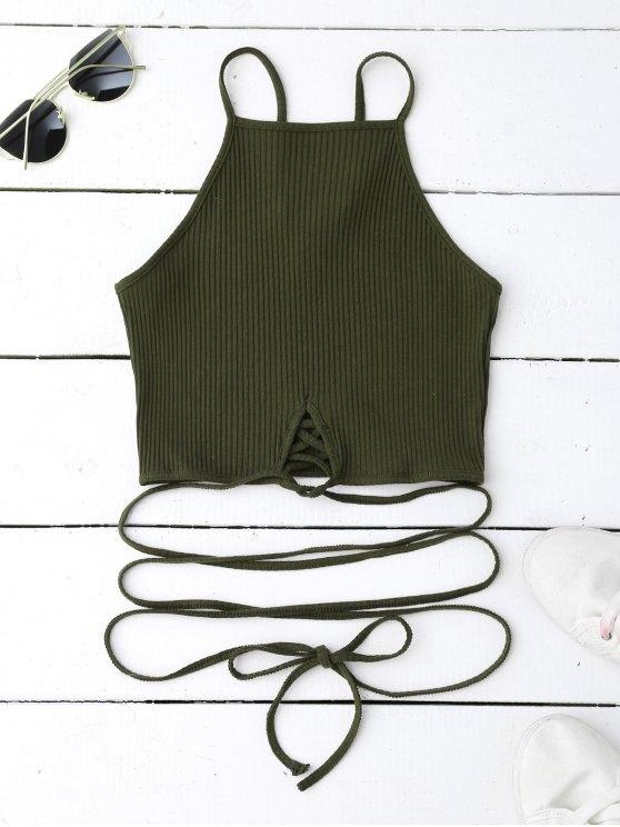 women Spaghetti Straps Strappy Tank Top - BLACKISH GREEN M