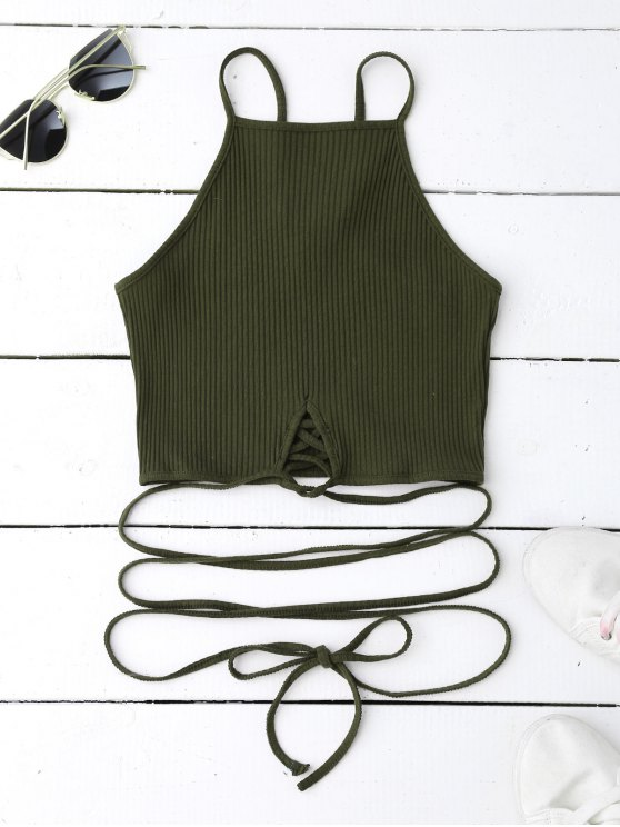 women's Spaghetti Straps Strappy Tank Top - BLACKISH GREEN S