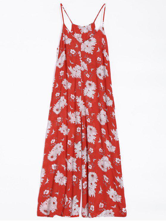 women Flower Wide Leg Jumpsuit - RED L