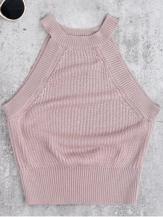 fancy Armhole Knitted Top - PALE PINKISH GREY M