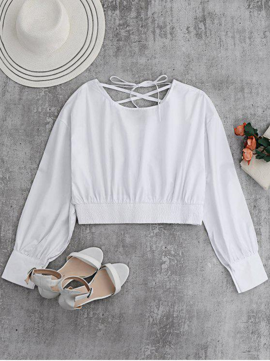 new Back Lace Up Boat Neck Cropped Blouse - WHITE M