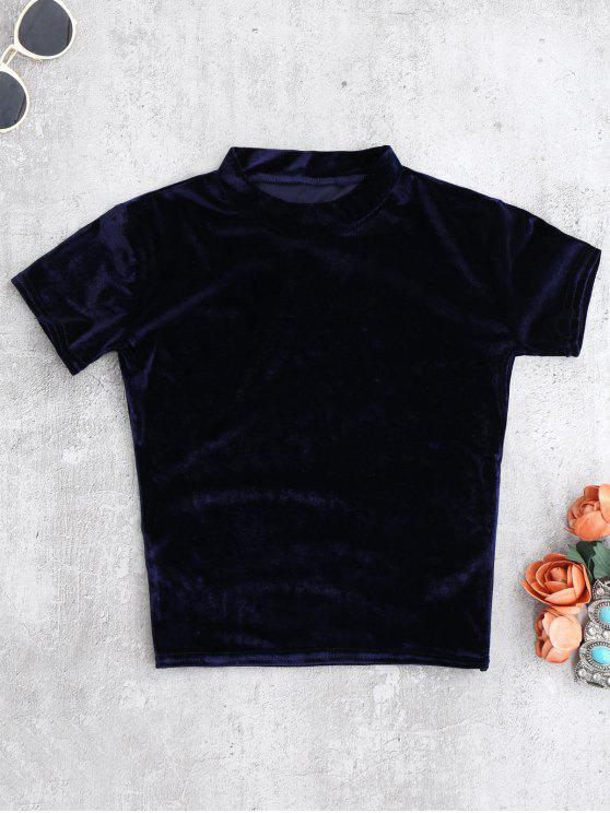 T-shirt court à manches courtes à col marin en velours - Bleu Cadette S
