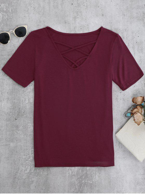 womens Strappy T-Shirt - BURGUNDY S