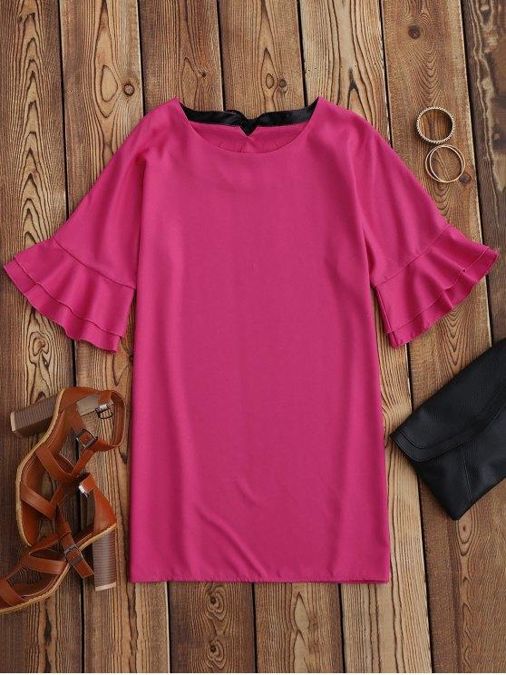 fancy Frilled Sleeve Mini Shift Dress - ROSE MADDER M