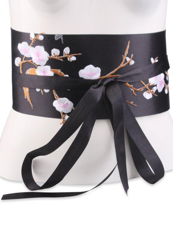 women Flowers Branch Embroidered Chinoiserie Fabric Corset Belt - SHALLOW PINK