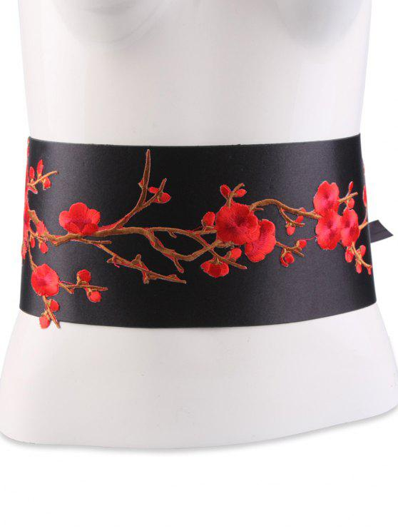 women's Flowers Branch Embroidered Chinoiserie Fabric Corset Belt - BRIGHT RED