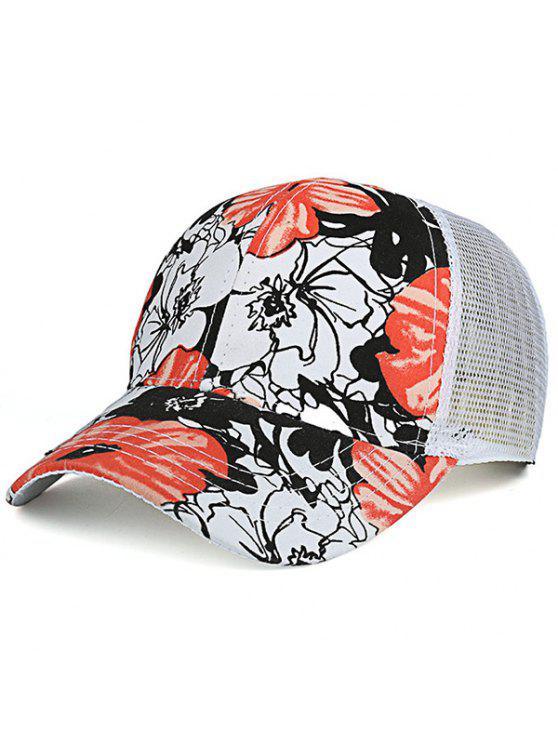 اليد رسمت الزهور شبكة تقسم قبعة بيسبول - اصفر برتقالي