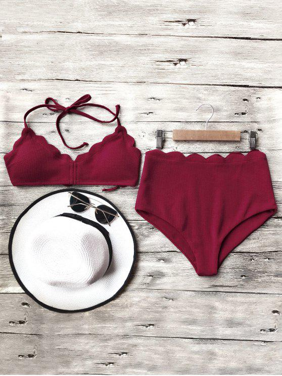 sale Halter Scalloped High Waisted Bikini Set - BURGUNDY M