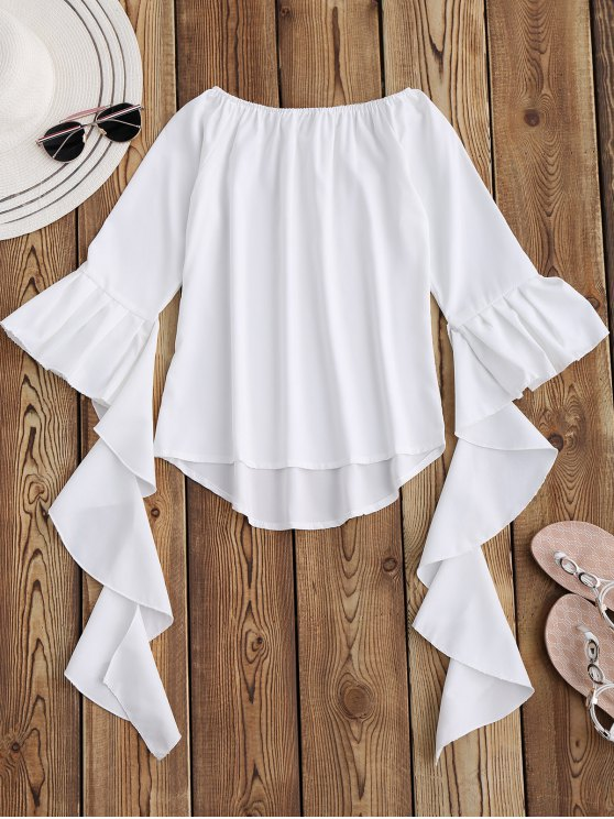 outfits Dramatic Bell Sleeve Off The Shoulder Top - WHITE L