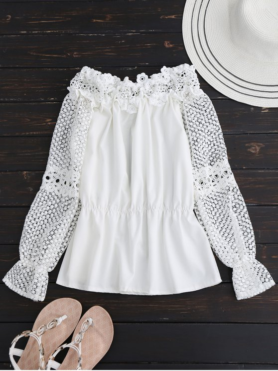 Crochet Lace Off The Shoulder Top - Blanc S